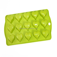 100% food grade silicone green color heart shape mold for chocolate/ice cube tray making