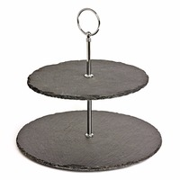 Natural stone 2 Tier Slate Afternoon Tea Cake Stander fashion 3 Tier round Slate cupcake stand