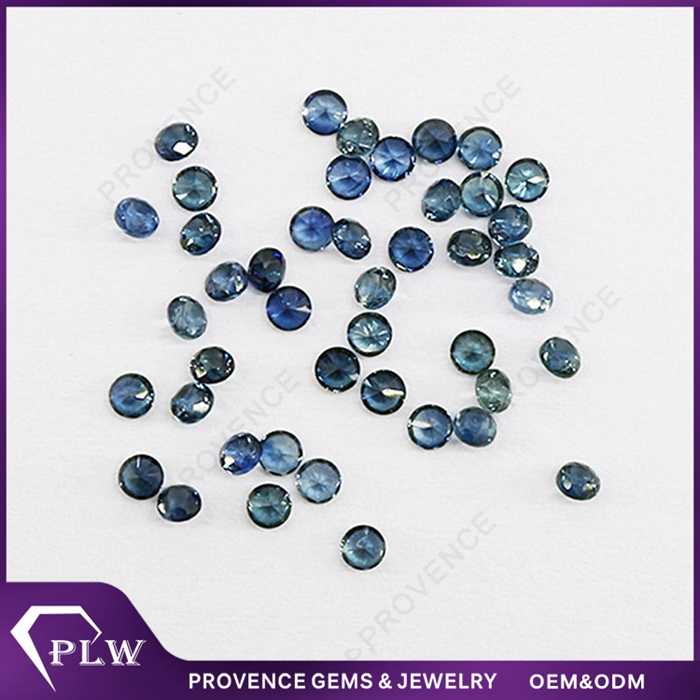 Good quality 1.0mm small round brilliant cut blue natural sapphire gems