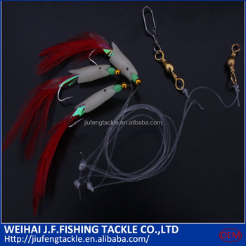 Fishing Sabiki Bright Color artificial shrimp fishing fly stainless steel hook