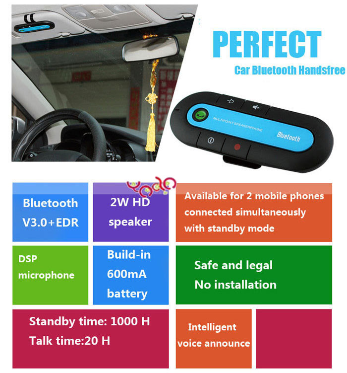 TS-MT03 Bluetooth Handsfree Car Kit Black