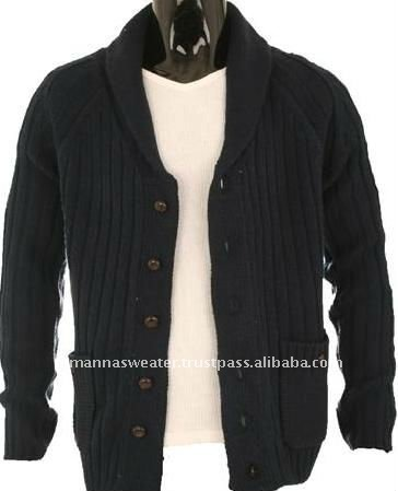 100% Cotton Knitted Fashion Cardigan Sweater for Men