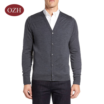 Long sleeve front button closure v-neck knitting cardigan sweater for men