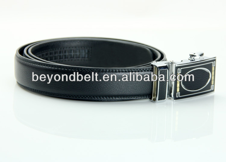 Beyond Men's 3.5cm Wide Black Second Layer Real Leather Ratchet Belt with Stylish Slide Buckle