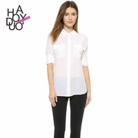 2015 Women fashion shirt brief turn-down collar shirt slim circle hem shirt for wholesale haoduoyi