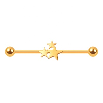 Trendy Gold Plating Three Stars Stainless Steel Industrial Barbell Ear Piercing Jewelry