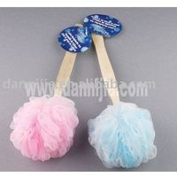 bath mesh sponge scrubber with woven handle