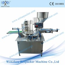 Automatic bubble tea cup filling and sealing machine for triangle cup