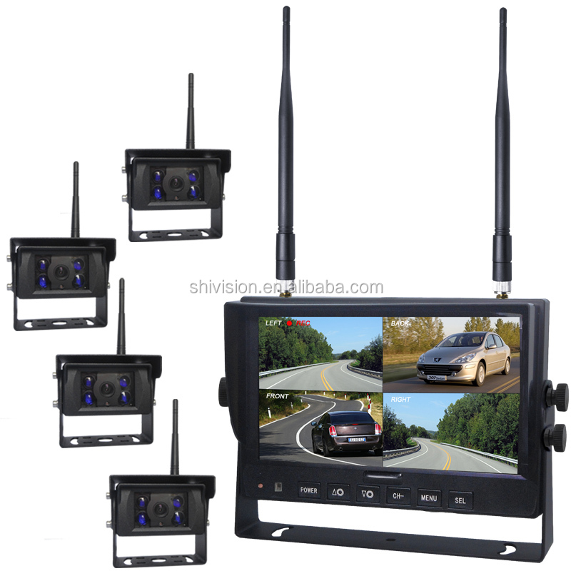 New Reversing Type Private Model Camera Quad Split Screen 7 Inch Monitor 4 Channel Wireless Digital Monitoring System with Parki