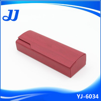 High quality red wooden grained leather wrapped magnetic eyeglass case