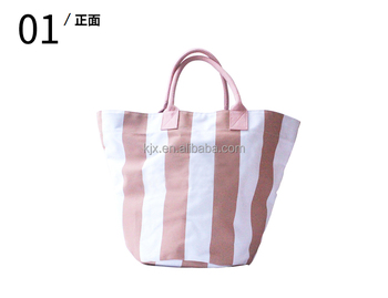 Fashion Stripe Canvas Shopping Bag with Leather Handle