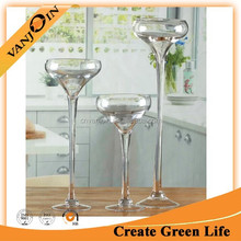 Large Art Glass Goblet Shaped Clear Vase Tall Wholesale