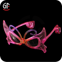 Excellent Party Supplies Fashion Plastic Butterfly Shaped Led Light Up Sunglasses
