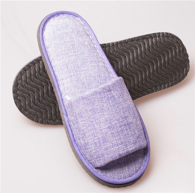 Wholesale fashion purple open toe flax <strong>slippers</strong>