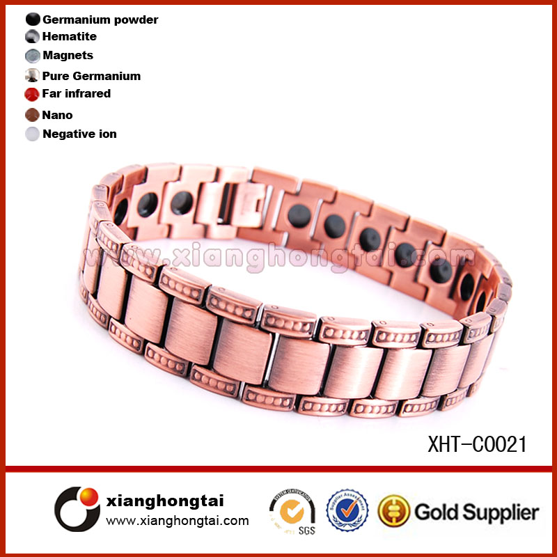 Trendy Wholesale Magnetic Vacuum ions IP gold plated copper Bracelet