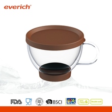 Everich double wall insulated glass coffee cup with lid and handle