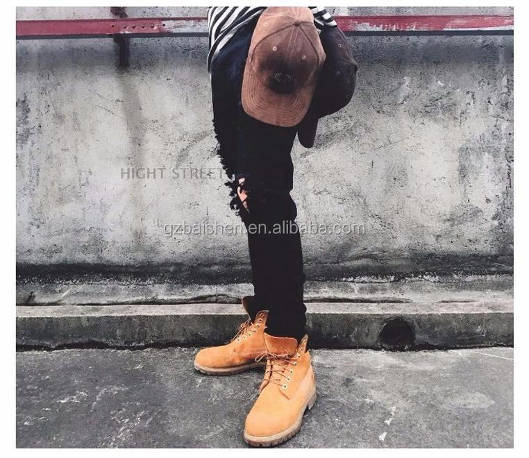 2017 New fashion damaged robin jeans for men, buy jeans in bulk ripped black denim jeans