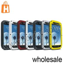 LOVE MEI Metal Silicone Gorilla Glass Case for Samsung I9300 Galaxy S3