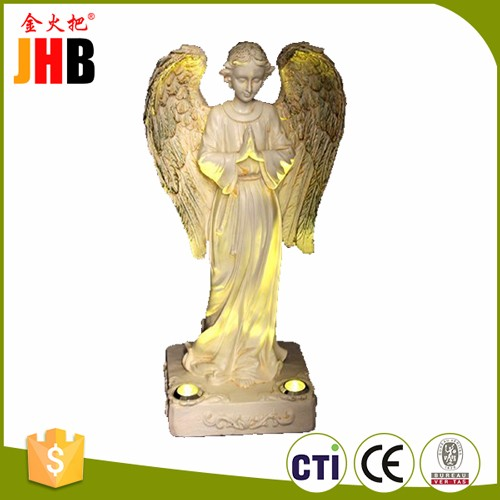 Beautiful Praying Angel with 2 Yellow LED Solar Light - Powered by the sun