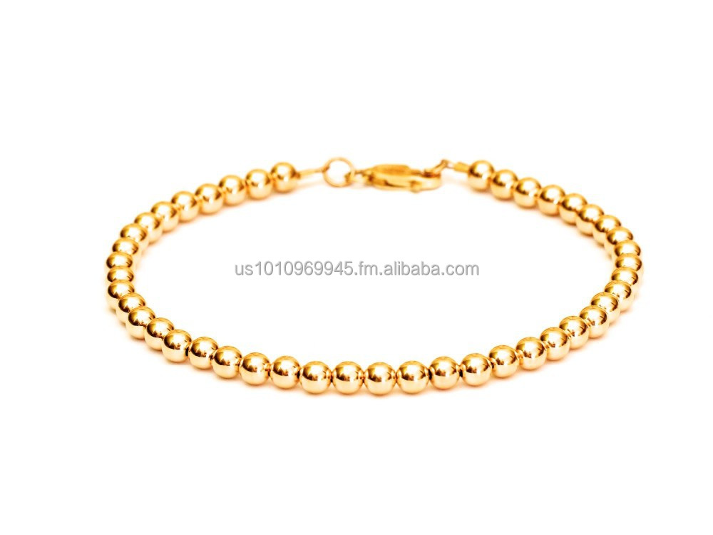14k Gold Ball Bead Bracelet 2mm, 3mm, 4mm, 5mm