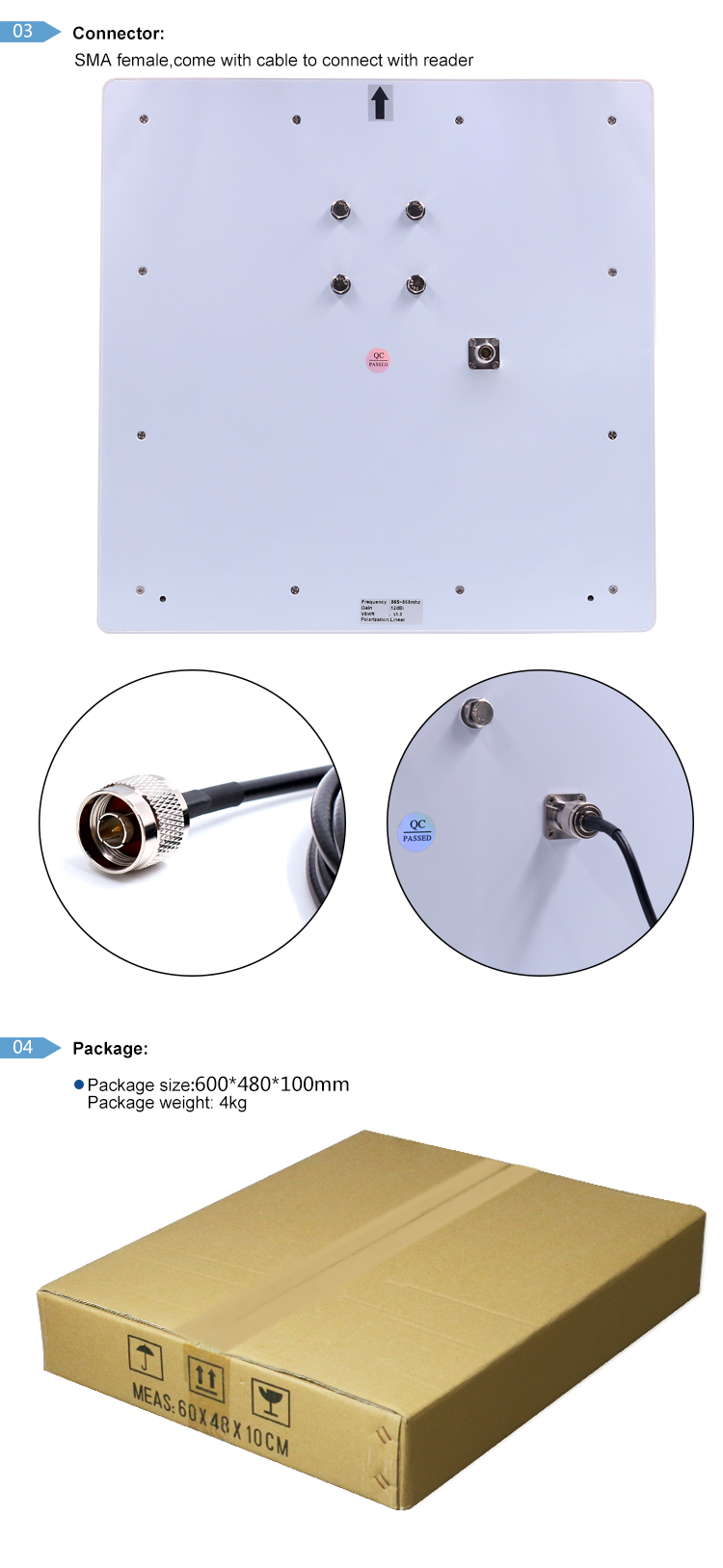 long range uhf 12dbi linear polarization antenna rfid
