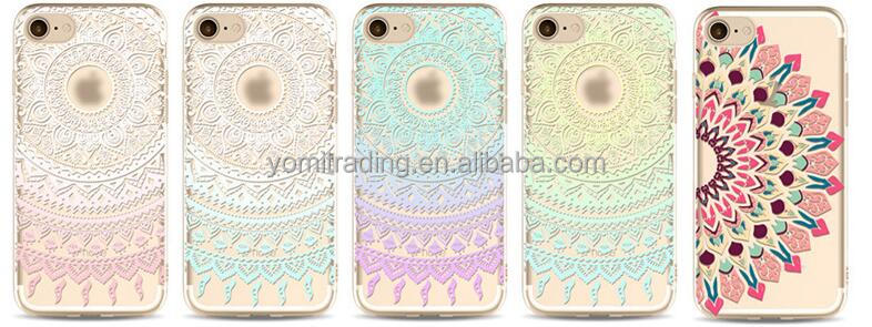 For Iphone 6 OEM mandala transprent soft phone case for Iphone 7