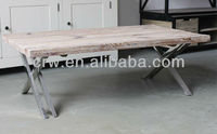 Vintage Pine Wood Coffee Table with Metal Legs