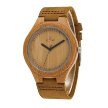 wholesale unisex wooden watch, hot sale wooden bamboo watch , genuine leather watch