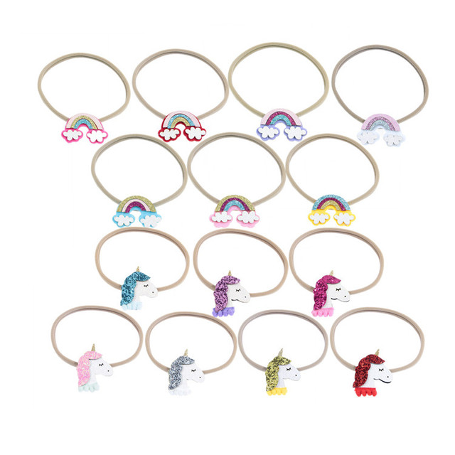 Wholesale hot selling cheap cute cartoon unicorns, rainbow children's headropes