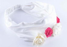 Fashion flowers decorative handmade girls cotton elastic knotted headband/headwrap