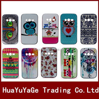 Colorful Flower Owl Pattern TPU+PLastic Soft phone cases cover for Samsung Galaxy Core 2 G355