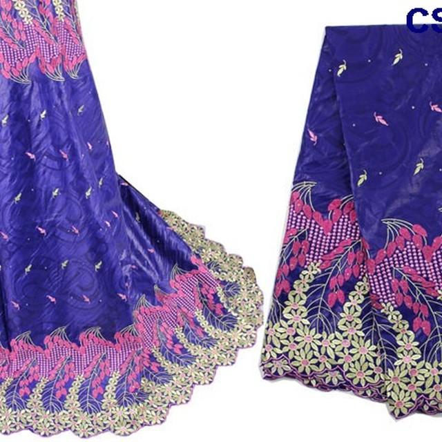New arrival beautiful embroidery brocade lace top fashion guinea brocade fabric lady dress