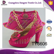 2017 New Arrival Sexy Nigerian Women High Heel Shoes And Bag Set In Fushia Color For Party TY6606