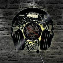 Music is MY Life Vinyl Record Decorative Clock Modern Home Decor Clock LED Lighting Wall Clock For Rock Music Fans