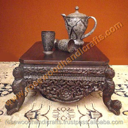 Wooden Carved Coffee Table Set , Rosewood Coffee Table Set , Wooden Engraved Coffee Table Set