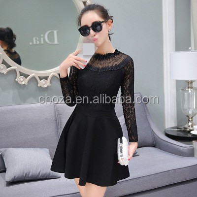 C22971B Korean Design Ladies Fashion Pattern Woman Lace Dress