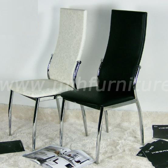 Steel Frame White/Black PU Leather Dining Room Chair Wholesale