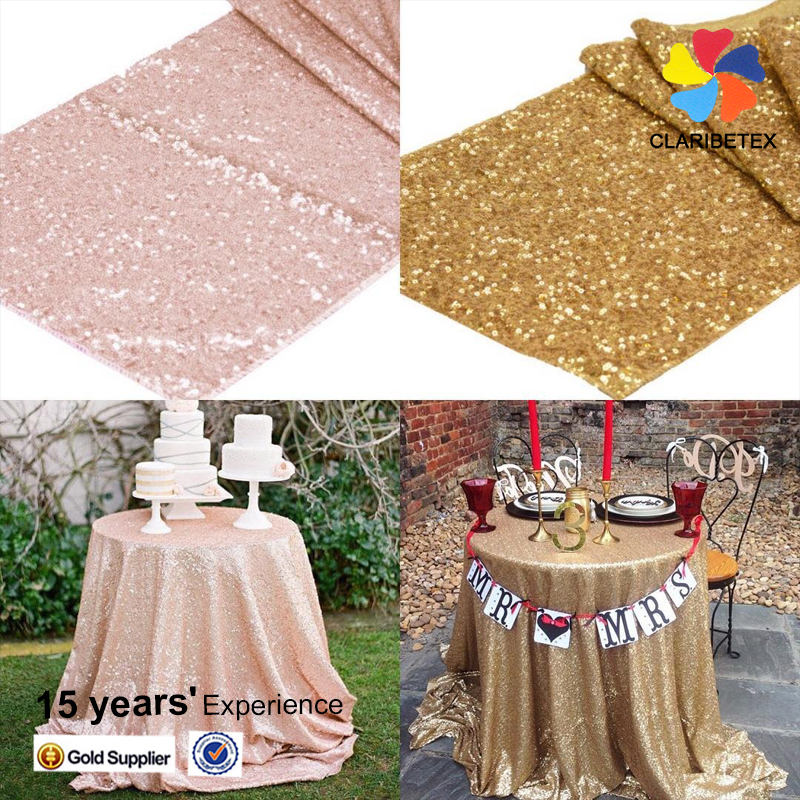Gold silver champagne blush embroidery beaded glitter sequin round tablecloth for wedding