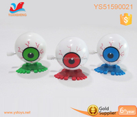 Promotional holloween toys plastic eyeball can walking when it wind up spring Scary wind up spring eyeball
