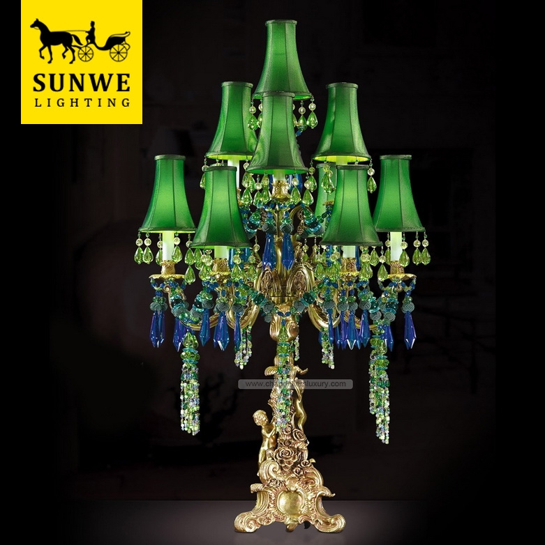 Country style Rococo 10 Lights Green Living Room Lampshade Bronze Crystal Acryl table lamp magnifying glass