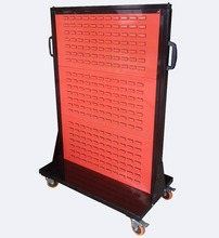 Metal pegboard mobile tool display stands storage case rack