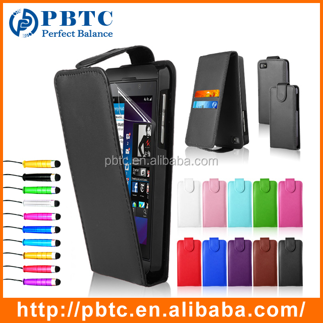 Set Screen Protector Stylus And Case , Wholesale Cheap PU Leather Wallet Case For Blackberry Z10