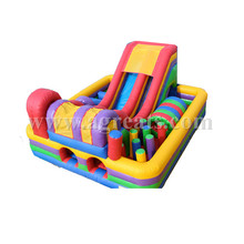 Funny inflatable colorful trampoline combo,square inflatable water obstacle course with slide and toys G5014