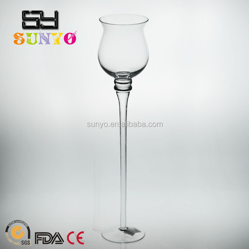 Customized size 5 Piece Glass Pedestal Votive Candle Holders long stem clear transparent popular in stocks