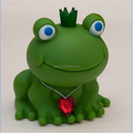 OEM 8cm height plastic green frog coin bank, custom plastic coin bank money bank