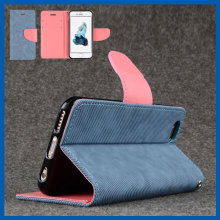 C&T Flip Wallet Stand Holder Jeans Denim Case Cover with Credit Card ID Slots for iPhone 6 4.7""