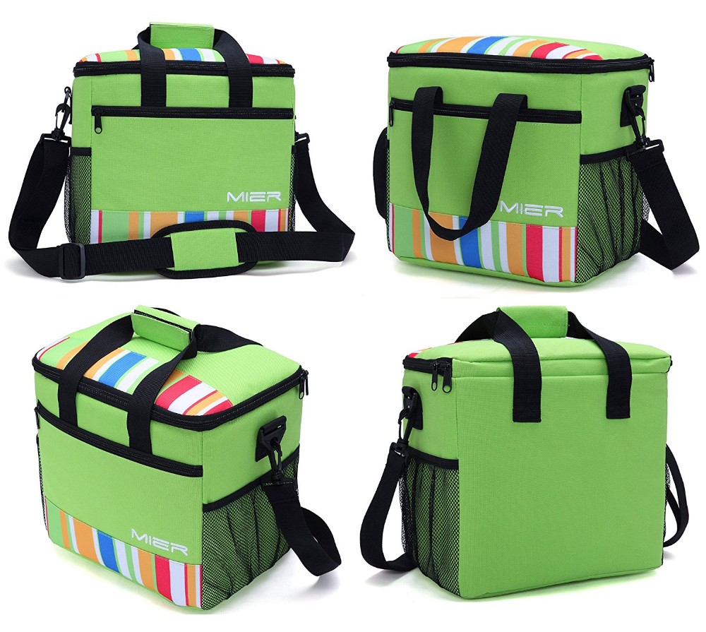 24-can Large Capacity Soft Cooler Tote Insulated Lunch Bag Green Stripe Outdoor Picnic Bag