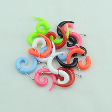 acrylic solid color fake spiral ear tapers expander gauges body piercing jewlery
