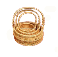 Customized wicker storage basket sets oval willow basket with handles for home