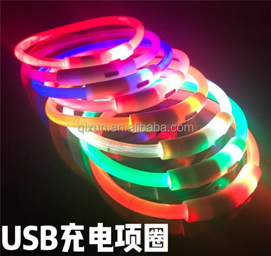 New Design Adjustable glow flashing led pet collar, rechargeable dog shock collar paypal accept